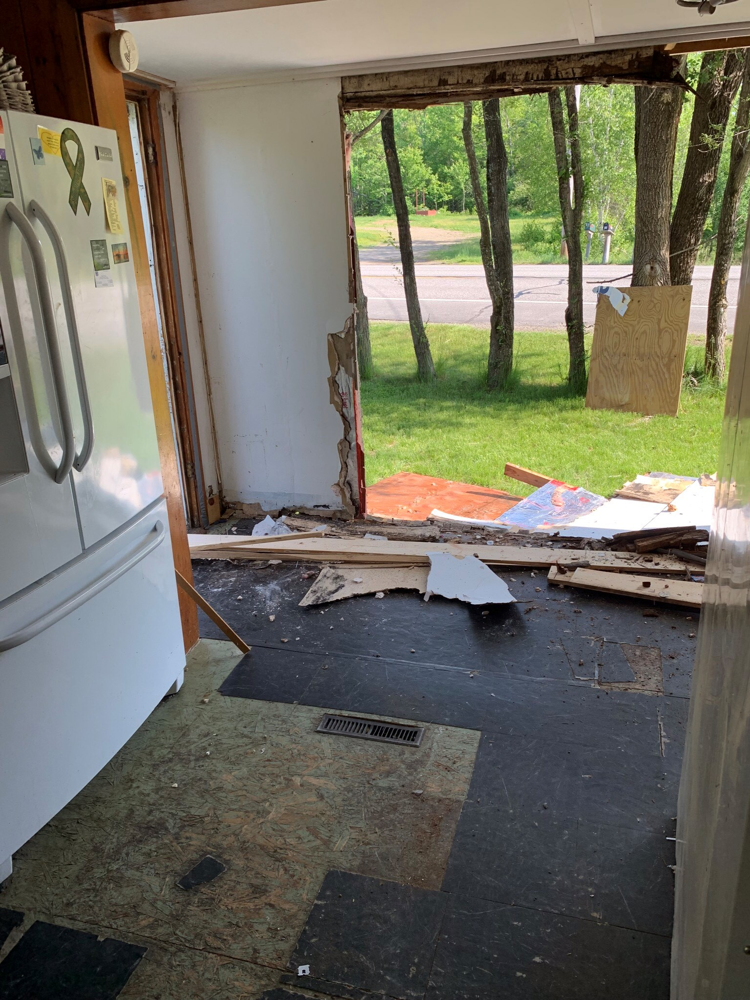 Kitchen remodel at the Garry Owen House in Maine - hole in the wall.